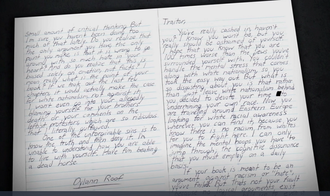 Dylann Roof Letter to Christian