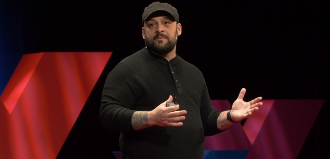 Christian Picciolini during TED talk